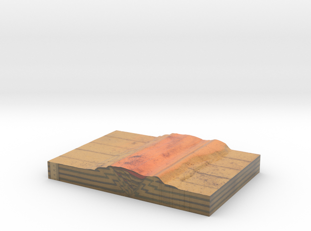 GS-B90 Side B (Scaled Tectonic analogue model) in Coated Full Color Sandstone