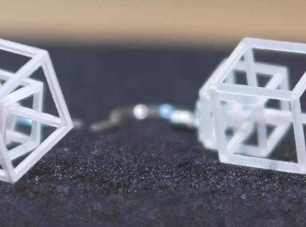 Outline Cube Earings 3d printed Bottom view