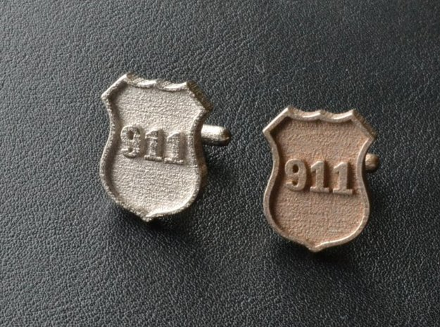 911 Police Shield Cuff-links in Polished Bronzed Silver Steel