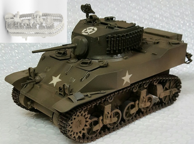 1:18 USA M5A1 Gears and tracks in White Strong & Flexible
