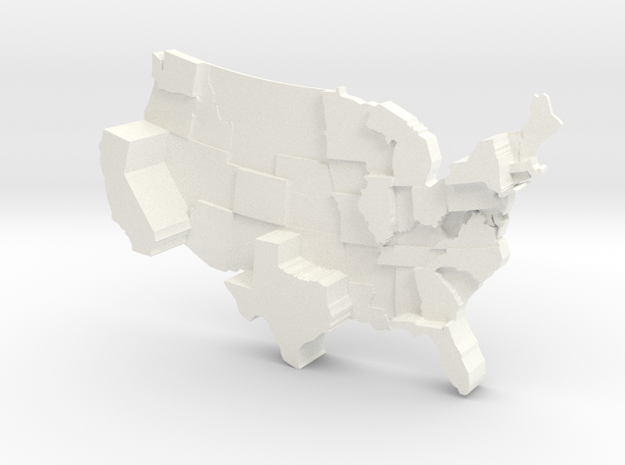 USA by Electoral Votes in White Strong & Flexible Polished