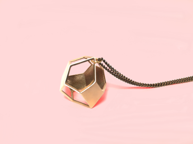 Polyhedron Pendant in Polished Brass