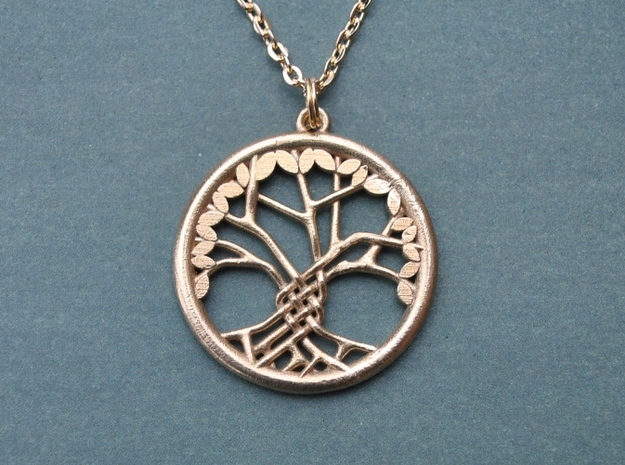 Tree Of Life Pendant in Raw Brass: Medium