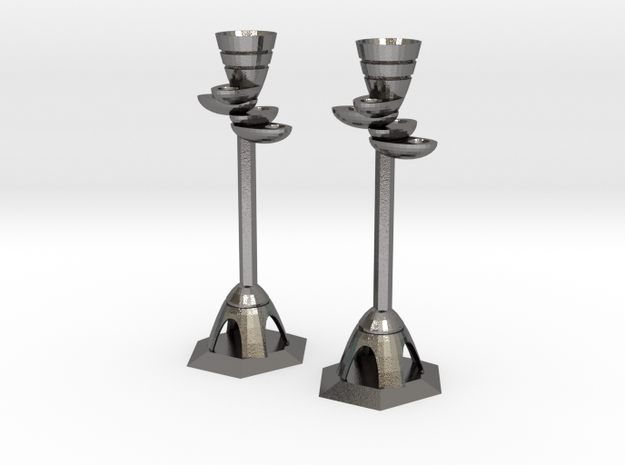 Candle Holders in Polished Nickel Steel: Large
