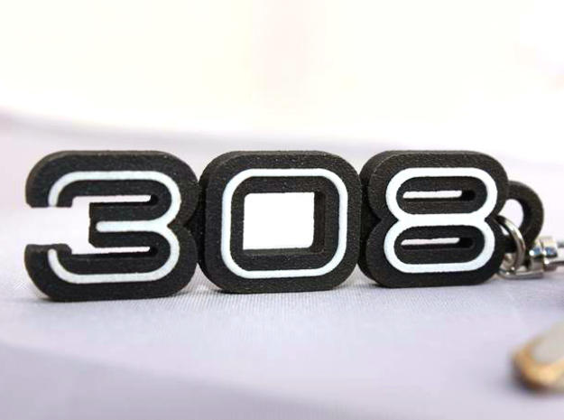 KEYCHAIN LOGO 308 3d printed Keychain with the Ferrari 308 logo in Black Steel with plastic inserts