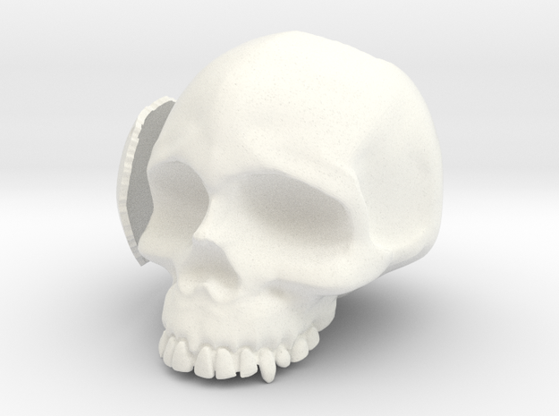 Skull Casing Raspberry Pi 2, No-ports in White Strong & Flexible Polished