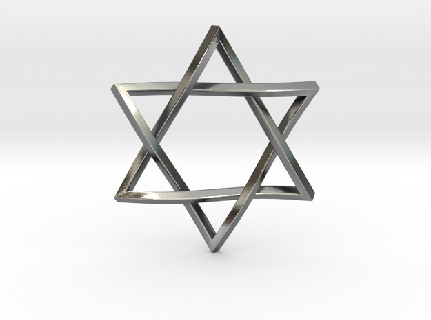 "Penrose Star of David 1"" in Polished Silver"