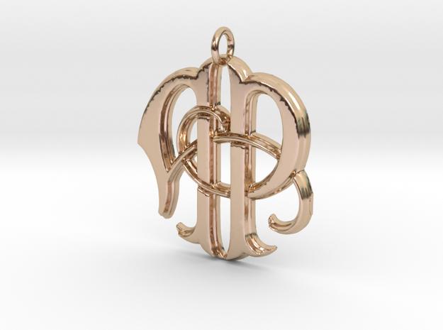 Monogram Initials AP Pendant  in 14k Rose Gold