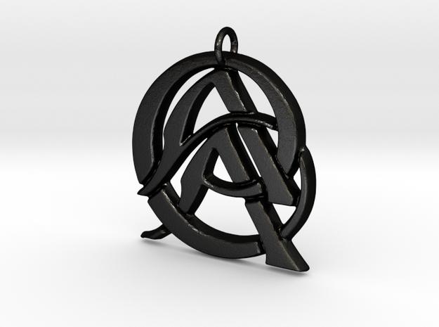 Monogram Initials AAC Pendant  in Matte Black Steel