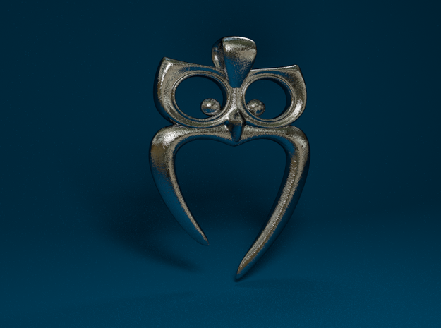 Owl Heart Pendant in Polished Bronzed Silver Steel