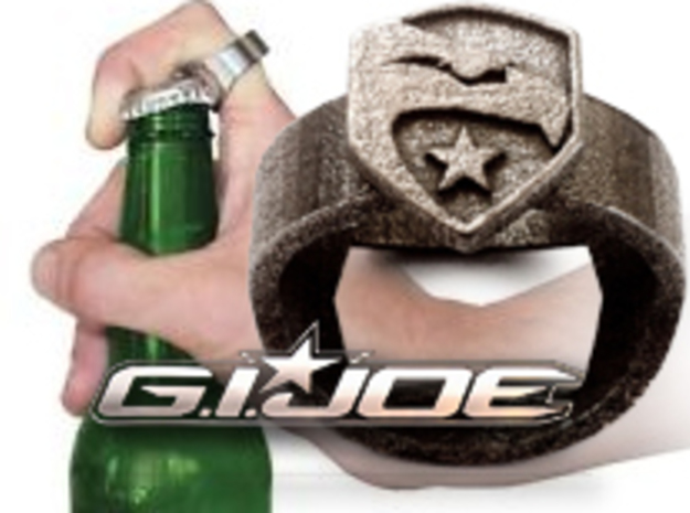 GI Joe Ring - Bottle Opener band or regular  in Stainless Steel