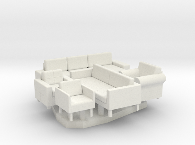 Furniture Group - HO 87:1 Scale in White Natural Versatile Plastic