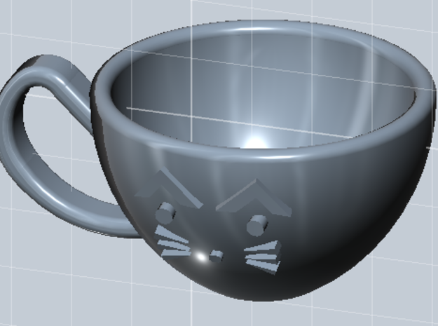 Cat Mug - 1/4 Doll Size in Smooth Fine Detail Plastic