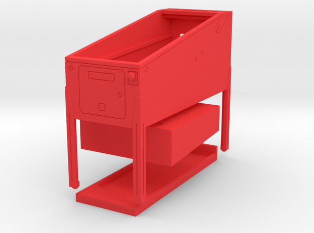 Mini Pinball Cabinet V2 - 1:10 Scale 3 parts in Red Processed Versatile Plastic