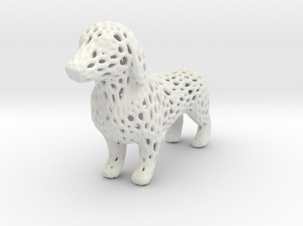 Voronoi Dachshund in White Natural Versatile Plastic