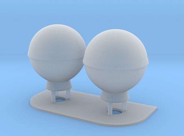 1:144 SatCom Dome Set 3 in Smooth Fine Detail Plastic