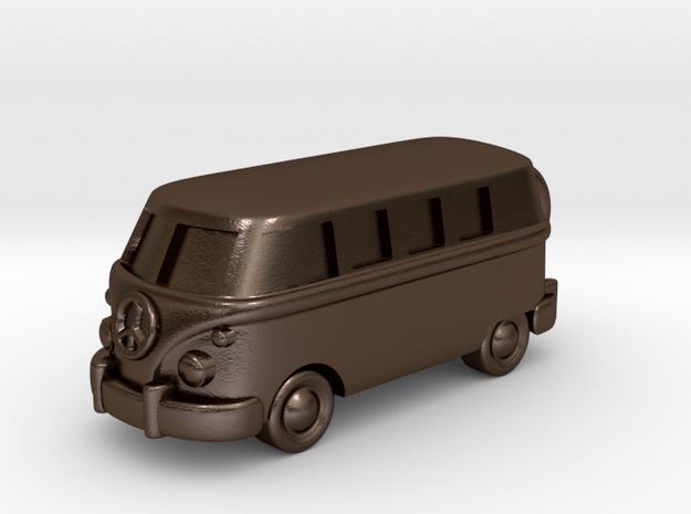 VW Van Charm & Keychain in Polished Bronze Steel