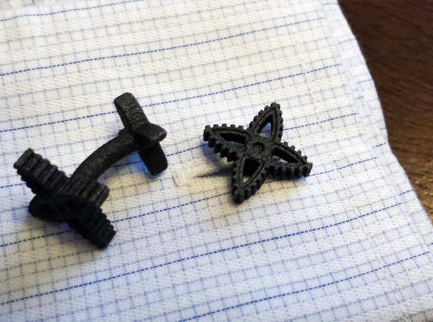X-Gear Cufflinks in Polished Bronzed Silver Steel