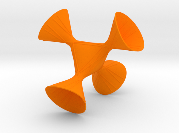 A tetrahedral symmetric cubic with lines in Orange Strong & Flexible Polished: Small