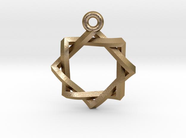 """Penrose Melchizedek Symbol Pendant 1.5"""" in Polished Gold Steel"""