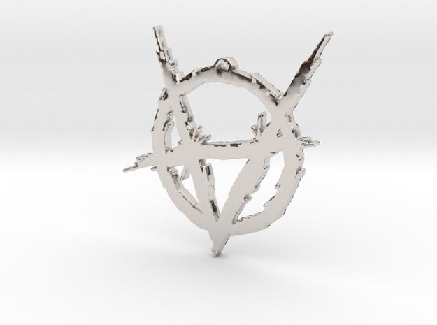 Brujah clan symbol pendant in Rhodium Plated Brass