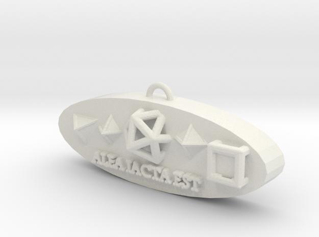 Dice Pendant in White Natural Versatile Plastic