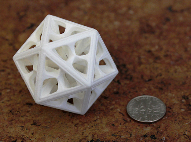 Icosahedron in White Processed Versatile Plastic: Medium