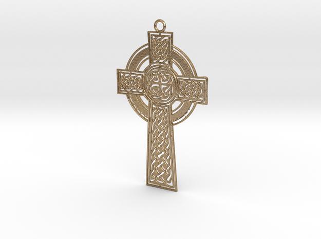 Celtic Cross in Polished Gold Steel