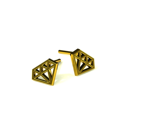 Earring diamant in Polished Brass