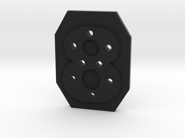 8-hole 8 Sided Number 8 Button in Black Strong & Flexible