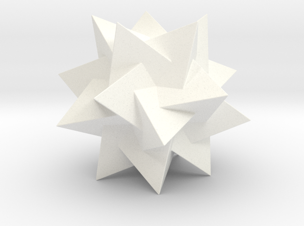 FIVE TETRAHEDRA COMPOUND in White Strong & Flexible Polished