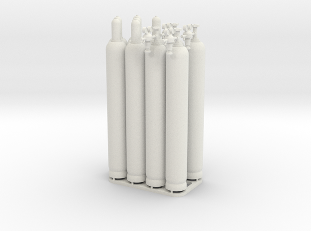 Gasflaschen Sortiment in 1:45 in White Natural Versatile Plastic