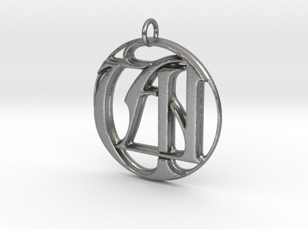 Monogram Initials UA Pendant in Raw Silver