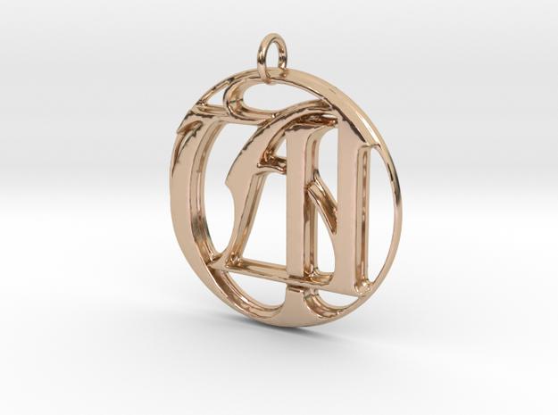 Monogram Initials UA Pendant in 14k Rose Gold