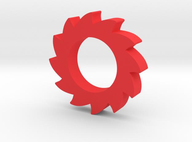 Single Bearing Sawblade Fidget Spinner EDC in Red Processed Versatile Plastic