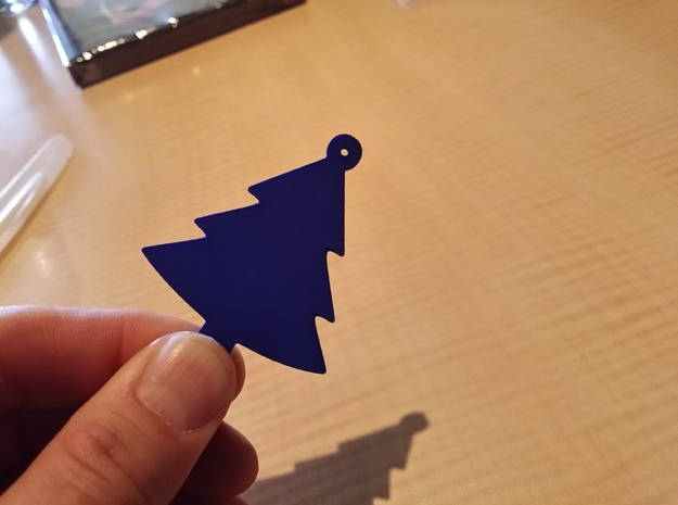 christmas tree ornament 3d printed One in blue.
