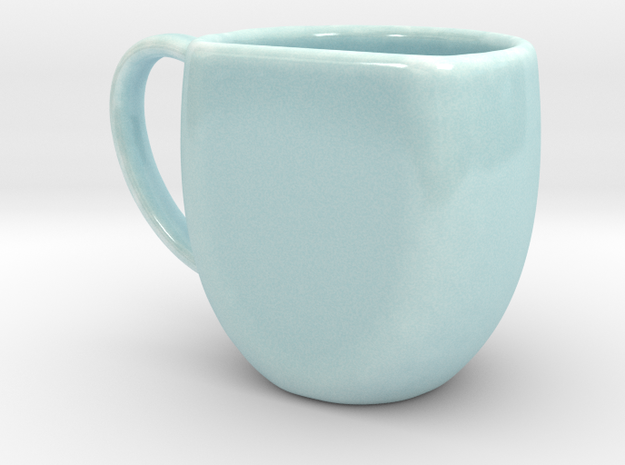 Celadon Selfies Right Espresso Mug (Right Handle) in Gloss Celadon Green Porcelain