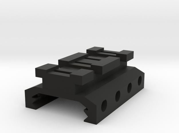 Picatinny to Nerf Adapter (2 Slots) in Black Natural Versatile Plastic