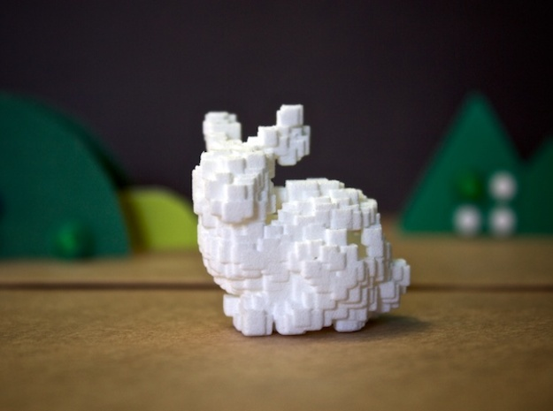 Geodesic Bunny in White Natural Versatile Plastic