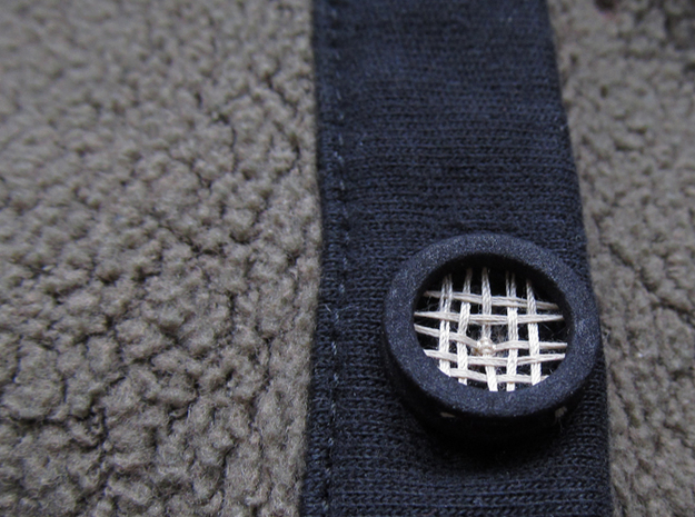 """5/8"""" Mandala Buttons (dozen) 3d printed Mandala button strung like a tennis racket and attached to cardigan"""