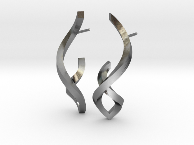 Twisted Ribbon Post Earrings in Polished Silver