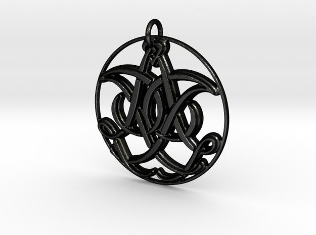 Monogram Initials IIA Pendant in Matte Black Steel