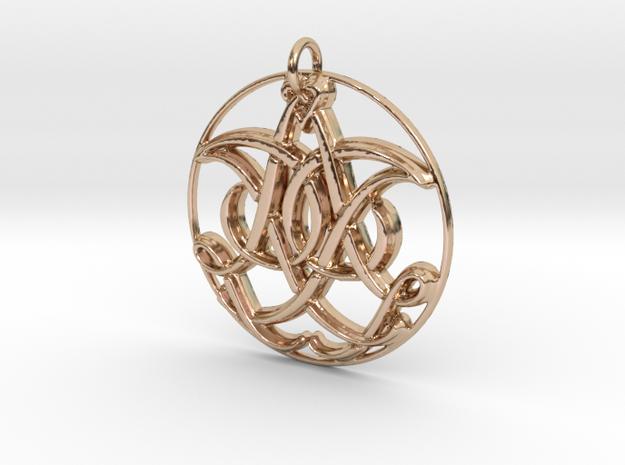 Monogram Initials IIA Pendant in 14k Rose Gold
