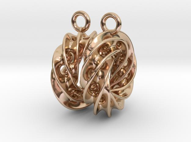 Twisted Scherk Linked 4,3 Torus Knots Earrings in 14k Rose Gold Plated