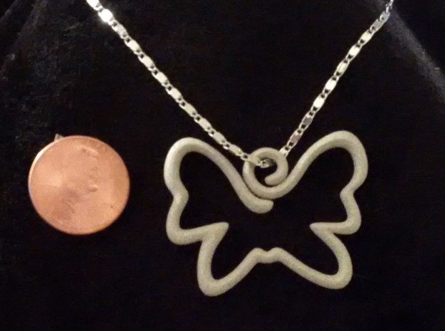 Swirly Butterfly Pendant Charm in Polished Metallic Plastic