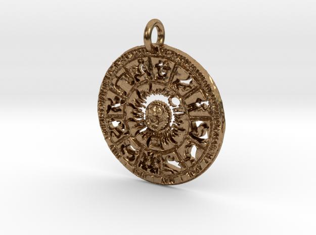 Zodiac Pendant in Natural Brass