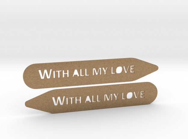 Collar stays: With All My Love in Natural Brass