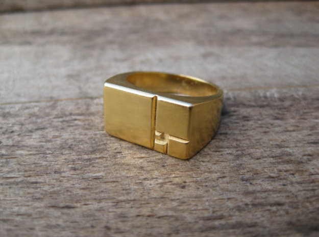 Golden Squares Ring 16.92mm ID US size 6.5 UK M1/2