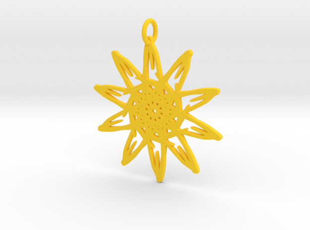Sunflower Pendant - 46mm in Yellow Strong & Flexible Polished