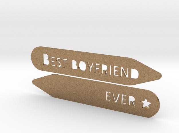 Collar stay: Best Boyfriend Ever  in Natural Brass